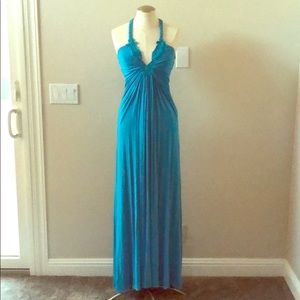 SKY turquoise jersey halter maxi dress